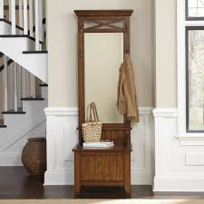 Decorations:Wooden Rack Shelving For Keeping The Coat And Other Cool Stuff  With Mirror Coat