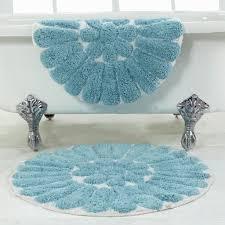 bursting flower design bathroom rug sets in pretty blue color