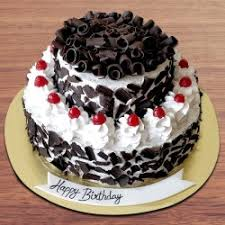 Send Double Tier Birthday Special Black Forest Cake Online By