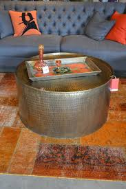 silver color round hammered metal tray coffee table for