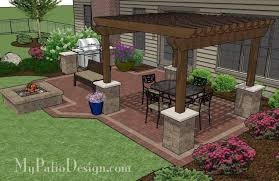backyard brick patio design with 12 x 12 pergola grill station and stone fire pit plan no 1147rr installation plan at mypatiodesign com