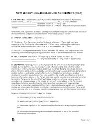 Nda Template For Startup New Jersey Non Disclosure Agreement Nda Template Eforms