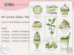 Green Tea Counted Cross Stitch Chart Sodastitch So G166