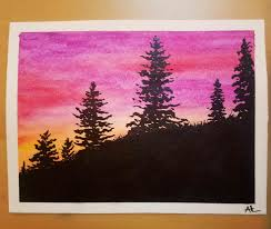 little painting of pine trees at sunset
