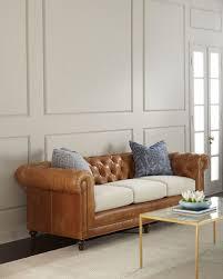 clayton tufted leather sofa 94