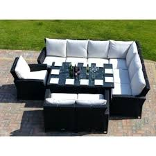 9 rattan garden furniture sofa dining table set and chairs round