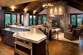 rustic decor kitchen family room rustic with recessed lighting window treatments exposed beams