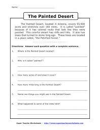 Sixth Grade Reading Comprehension Worksheets Life Skills ...