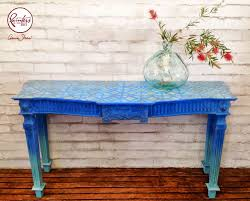stenciled console table was given a stunning ombre makeover with provence and greek blue chalk paint