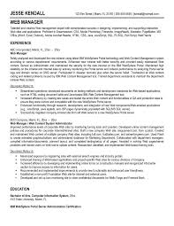 Awesome Web Manager And Developer Resume Template Sample Featuring