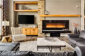 contemporary living room with wall mounted tv and gas fireplace