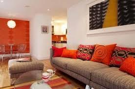 Minimalist Red And Orange Stunning Orange Living Room Design