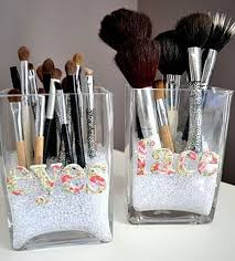 this is a simple idea to use the old glass containers to make a brush organizer