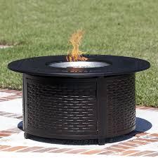 fire sense 50000 btu propane gas 48 inch round fire pit woven cast aluminum 62195