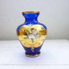blue glass vase gold trim fl vase vintage blue vase hous