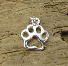 sterling silver wolf paw charm paw