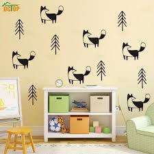 nordic cartoon fox in forest pine tree wall stickers vinyl woodland removable nursery wall art decal for kids room home decor