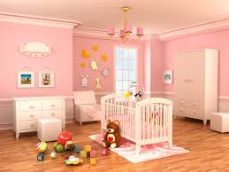 Baby Room:Cute Pink Bedding For Pretty Girls Nursery Plus Stripes Painted  Also White Baby
