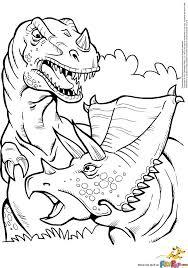 Eenvoudig Kleurplaat Printable T Rex And Triceratops Coloring Page