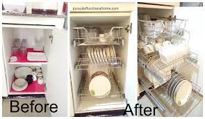 before and after pull out kitchen organizer how to organize plates glasses