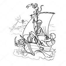 Bambini Che Giocano Ai Pirati Con Scimmia Vettoriali Stock