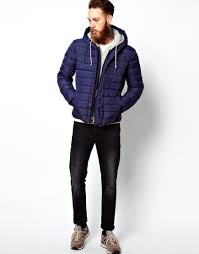Asos Quilted Jacket with Jersey Hood in Blue for Men | Lyst & Gallery Adamdwight.com
