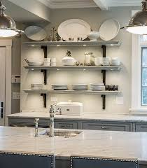 carrera marble kitchen countertop kitchen with carrera marble countertop open gray kitchen shelves with white china display