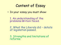 the liberal reforms how successful were the reforms ppt  content of essay in your essay you must show