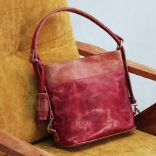 leather shoulder bag in wine and rosewood from mexico elegant castellan