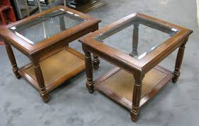 two mersman side end tables beveled glass top