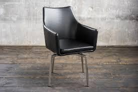 Stuhl Cali Sessel Leder Esszimmerstuhl Schwarz Füße Edelstahl