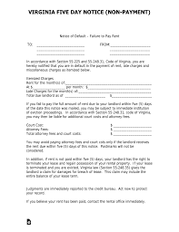 Virginia 5 Day Notice To Quit Form Non Payment Of Rent Eforms