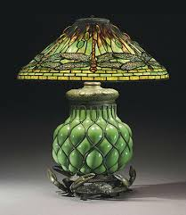 lamp with crab base circa leaded glass cabochons and patinated bronze n glass base high x diameter shade stamped studios new york