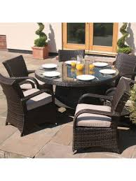 outdoor 6 seater rattan texas round table set