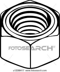 nut clipart black and white. clip art - hex nut . fotosearch search clipart, illustration posters, drawings, clipart black and white