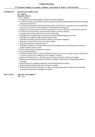 Recruiting Director Resume Sample Velvet Jobs