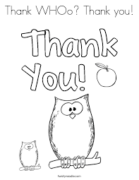 Small Picture Thank WHOo Thank you Coloring Page Twisty Noodle