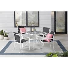 5 piece steel outdoor patio dining set