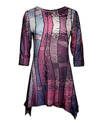 pink purple stained glass sidetail tunic women plus