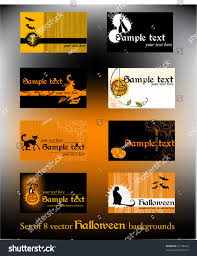 Halloween Business Cards Set Business Card Designs Halloween Vector Stock Vector