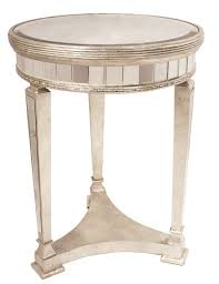 deana round mirrored side table antique