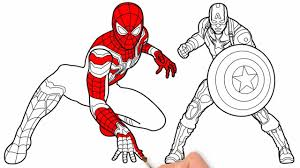Learn Drawing And Coloring Spider Man 24 Captain America 1