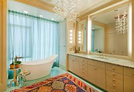 in gallery a chandelier with floating bubbles seems apt for the trendy contemporary bathroom from