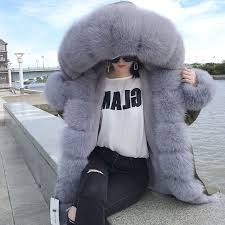 ping new fashion winter coat real fox fur collar hooded winter jacket women long parka fashion slim brand