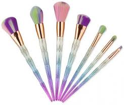 fashionable set of 7 pieces colourful professional makeup brushes for las