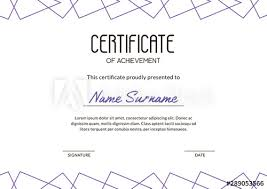 Certificate Outline Modern A4 Certificate Template With Purple Outline Triangles