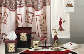 Red Black And White Bathroom Decor Accessories Sets Wallpaper
