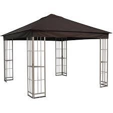 garden treasures 10 ft x 10 ft x 9 ft polyester roof beige steel square gazebo
