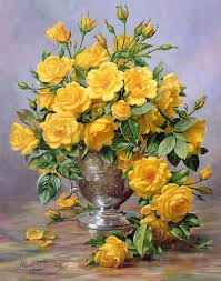 still life painting bright smile roses in a silver vase by albert williams