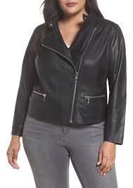 halogen leather moto jacket plus size